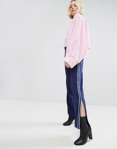 Read more about Stylenanda wide leg track trousers with side stripe ankle zip