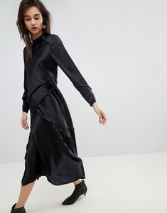 Read more about Asos white long sleeved silk dress - black