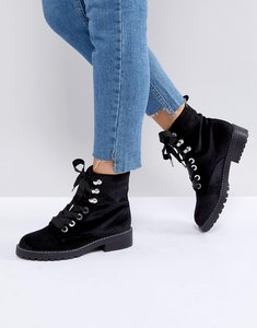 Read more about Pimkie velvet biker boots - black velvet
