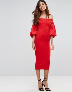 Read more about Tfnc off shoulder midi dress with blouson sleeve - red