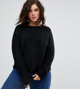 Read more about Asos curve jumper in fluffy yarn with crew neck - black