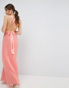 Read more about Asos deep plunge strap back maxi with satin tie dress - nude