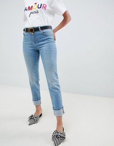 Read more about Miss selfridge slim leg jeans with turn up hem in mid wash - blue