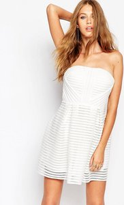 Read more about Missguided crochet stripe detail skater dress - white