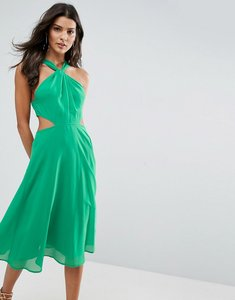 Read more about Asos side cut out midi dress with twisted neckline - green