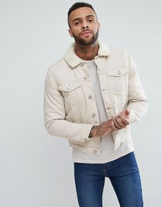 Read more about New look borg lined denim jacket in off white - off white
