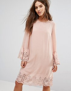 Read more about Y a s shift dress with broderie fluted sleeve - pink