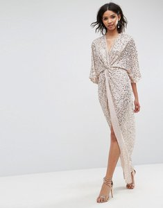 Read more about Asos sequin kimono maxi dress - mink