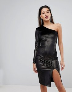 Read more about Flounce london glitter velvet one shoulder midi dress - black gold