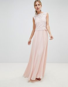 Read more about Oasis occasion lace bodice pleated maxi dress - blush