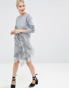 Read more about Asos co-ord knitted skirt with metallic fringing - silver