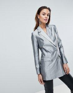 Read more about Asos longline blazer in metallic - silver