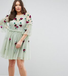 Read more about Asos curve embellished mesh fluted sleeve smock mini dress - soft green
