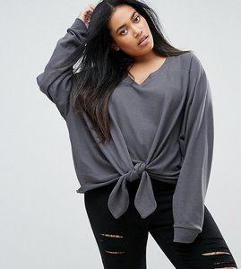 Read more about Asos curve sweatshirt with knot front in washed charcoal - charcoal