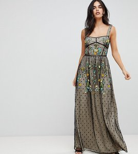 Read more about Frock and frill premium folk embroidered structured strap maxi dress - black nude