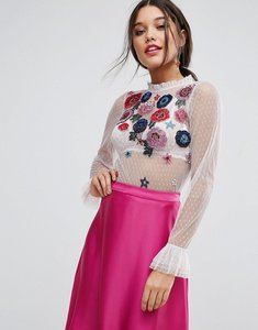 Read more about Asos top in mesh with floral embroidery - mauve