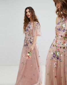 Read more about Asos design bridesmaid floral embroidered dobby mesh flutter sleeve maxi dress - nude