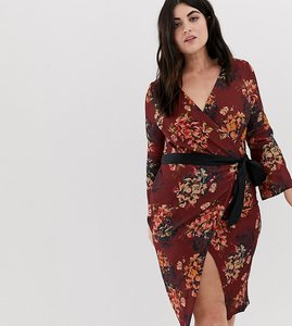 Read more about Closet london plus allover floral wrap pencil dress with belt - brown multi