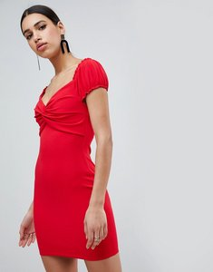Read more about Flounce london knot front bardot mini dress with puff sleeve - red