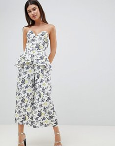Read more about Asos design structured bandeau jumpsuit with frill overlay in floral print - printed floral