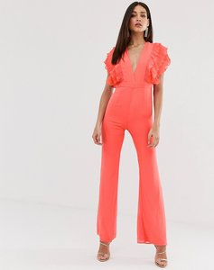 Read more about Forever u plunge front jumpsuit in coral