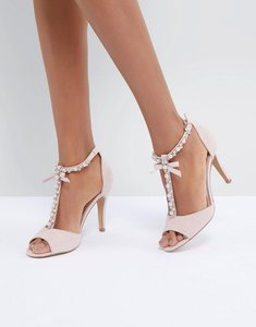 Read more about Head over heels by dune mercedes pearl trim heeled sandals - nude