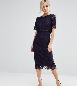 Read more about Asos petite lace crop top midi pencil dress - navy