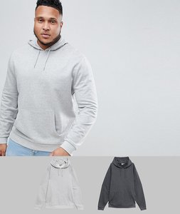 Read more about Asos design plus hoodie 2 pack charcoal grey marl - charcoal grey marl