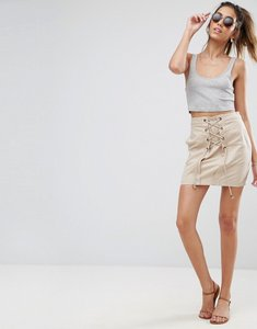 Read more about Asos mini skirt with lace up detail - stone