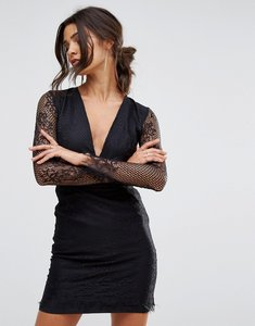Read more about Oh my love plunge lace mini dress with open back - black
