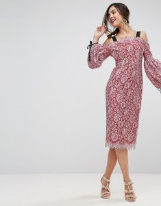 Read more about Asos extreme sleeve bardot pencil lace midi dress with contrast trims - pink