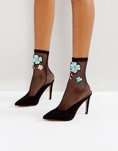 Read more about Asos embellished mesh ankle sock - black