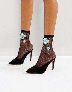 Read more about Asos embellished mesh ankle sock - black