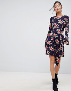 Read more about Asos mini dress with hanky hem and frill cuff in spot floral print - multi