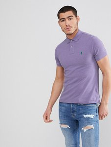 Read more about Polo ralph lauren slim fit pique polo in lilac marl - new lilac heather