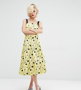 Read more about Horrockses inky spot co ord full midi skirt - yellow black