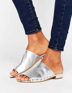 Read more about Carvela kammie silver leather stud detail mules - silver leather