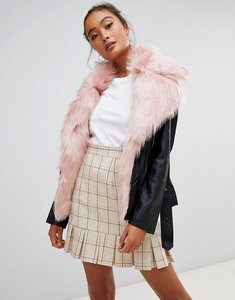 Read more about Parisian faux leather jacket with faux fur collar - black dark pink
