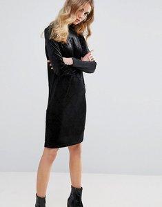 Read more about Ichi embossed velvet shift dress - black