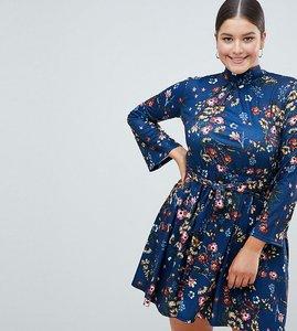 Read more about Club l plus floral flute sleeve skater dress - blue print