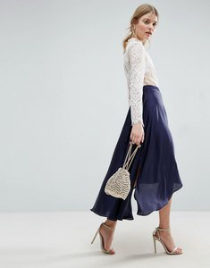 Read more about Asos midi skirt in satin with splices - navy