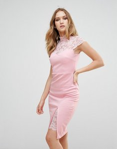 Read more about City goddess pencil dress with lace yoke - pink