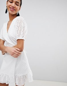 Read more about Fashion union wrap dress in broderie - white broderie
