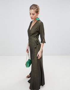 Read more about Traffic people v neck 3 4 sleeve wrap maxi dress - black gold