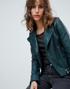 Read more about Barney s originals coloured leather biker jacket - forest green