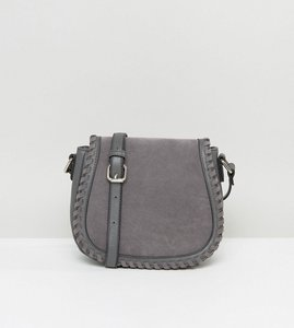 Read more about French connection stitched saddle bag - dark grey marl