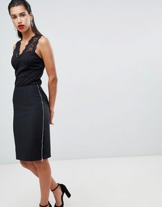 Read more about Morgan zip side midi bodycon skirt - black