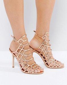 Read more about Steve madden slithur rose gold caged heeled sandals - rose gold