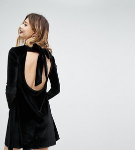 Read more about Rokoko swing dress with long tie neck in velvet - black