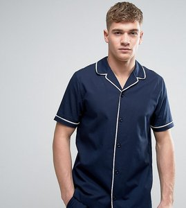 Read more about Asos woven pyjama shirt - navy